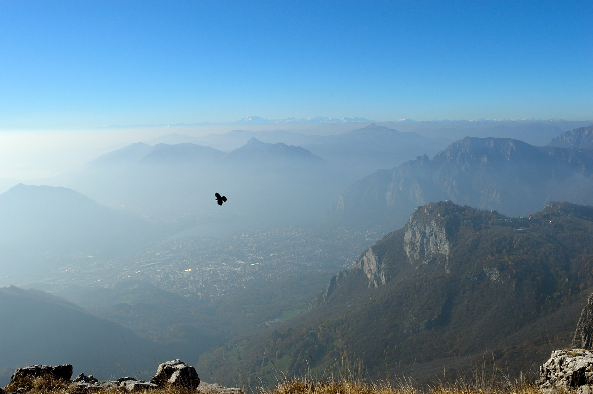 Hiking by Como lake in Italy. From Lecco to Monte Resegone.