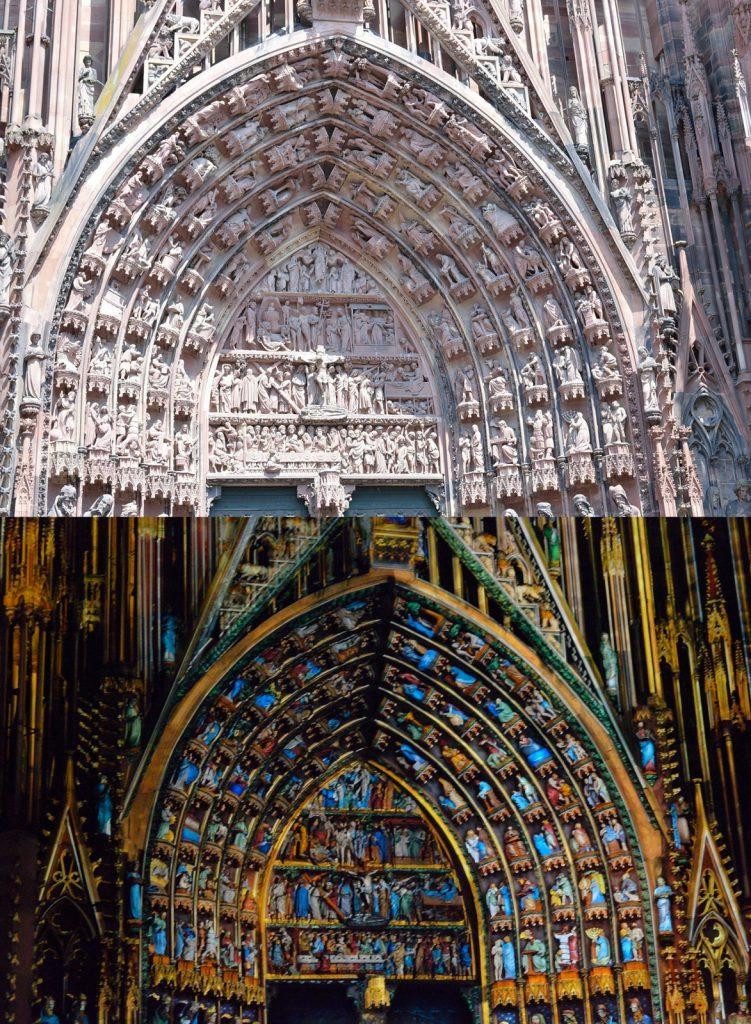 Jeden dzień w Strasburgu: Iluminacja przedniej fasady katedry Notre Dame