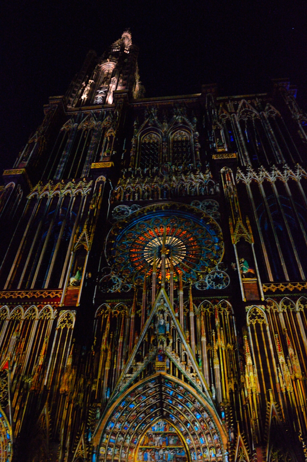 One day in Strasbourg: Front fascade illumination, Notre Dame Cathedral