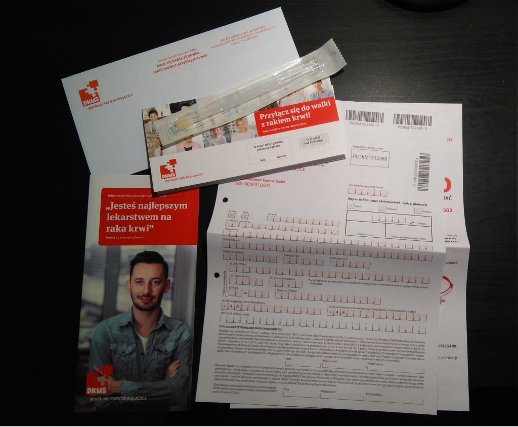 Rejestracja w bazie dawców szpiku DKMS: Pakiet rejestracyjny