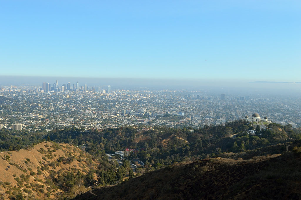 On our way to the Hollywood sign - view at the city