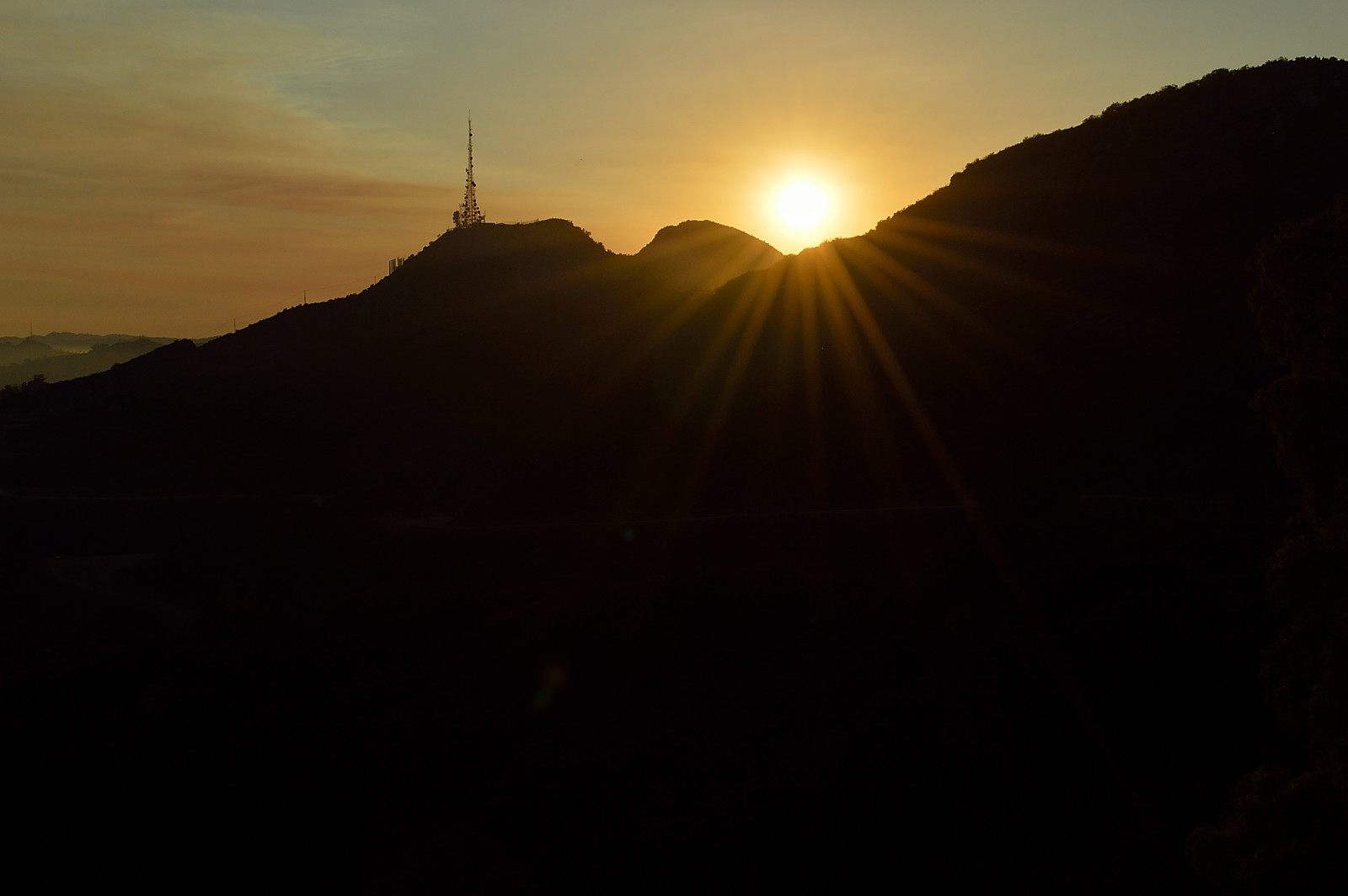 hiking to the Hollywood sign - the sunset