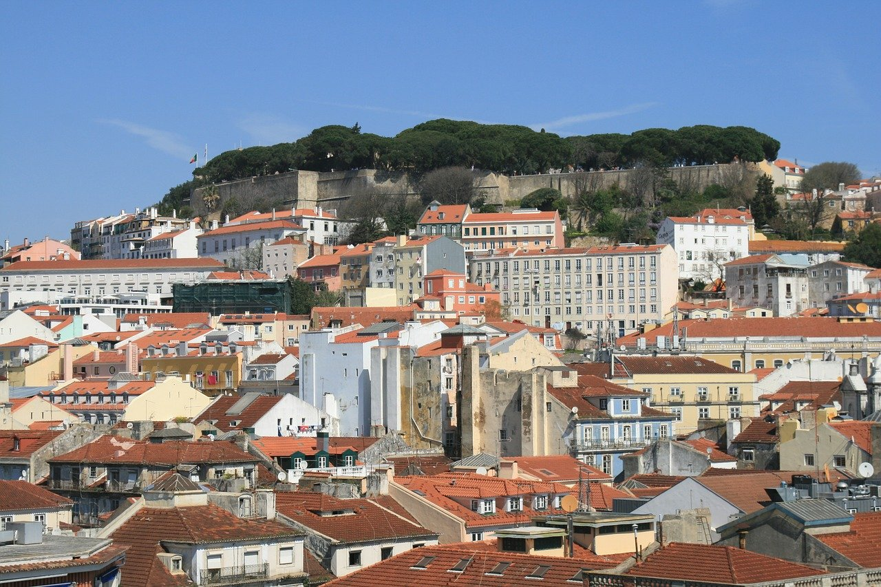 Castle Sao Jorge in Lisbon on a hill