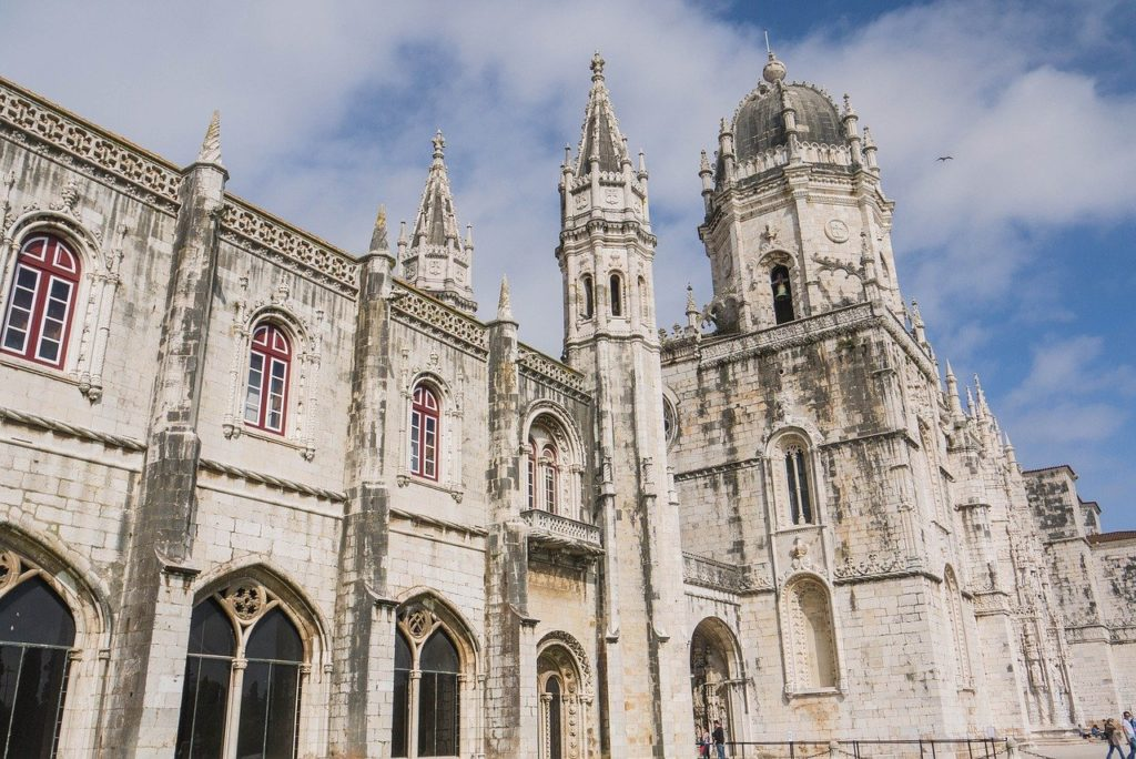 Jeronimos Monastery in Lisbon with blue sky